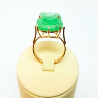Кольцо золотое с изумрудом, 585 пробы
