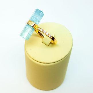 Кольцо золотое, 585, с аквамарином