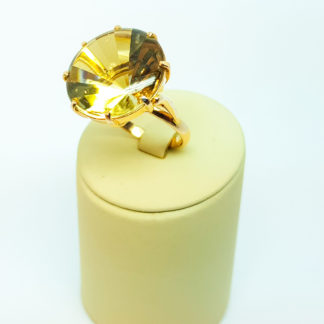 Кольцо золотое, 585 проба, с цитрином